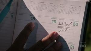تقویم کارل سیگن که در آن روز ملاقات با تایسون را علامت زده است